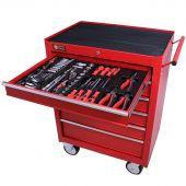George Tools Werkzeugwagen gefüllt 6 Schubladen 144-teilig rot