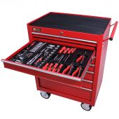 George Tools Werkzeugwagen gefüllt 7 Schubladen 144-teilig rot