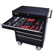 George Tools Werkzeugwagen gefüllt 6 Schubladen 144-teilig schwarz