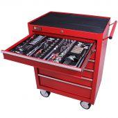 George Tools Werkzeugwagen gefüllt 6 Schubladen 253-teilig rot