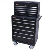 George Tools Werkzeugwagen mit Kiste 12 Schubladen schwarz