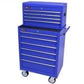George Tools Werkzeugwagen mit Kiste 10 Schubladen blau