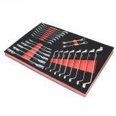 Kraftmeister Foam Inlay 11. Doppel-Gelenkschlüssel, Ringschlüssel und Ringratschenschlüssel-Set 24 teilig