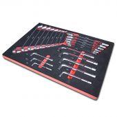 Kraftmeister Foam Inlay 2. Doppelgelenkschlüssel, Pfeifenkopfschlüssel, Ringschlüssel - Set 22 teilig