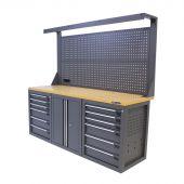 Kraftmeister Werkbank mit Wand 12 Schubladen 2 Türen MDF 200 cm - grau