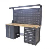 Kraftmeister Werkbank mit Wand 6 Schubladen 2 Türen Eiche 200 cm - grau