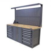 Kraftmeister Werkbank mit Wand 12 Schubladen 2 Türen Eiche 200 cm - grau
