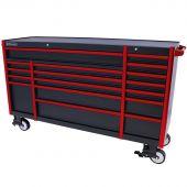 Kraftmeister Werkzeugwagen Everest 72 Industrial schwarz/rot - 17 Schubladen