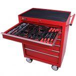 George Tools Werkzeugwagen gefüllt 6 Schubladen 80-teilig rot
