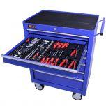 George Tools Werkzeugwagen gefüllt 7 Schubladen 144-teilig blau