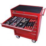 George Tools Werkzeugwagen gefüllt 7 Schubladen 209-teilig rot